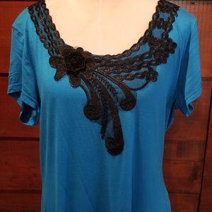 NWOT blue scoop neck top (2X)